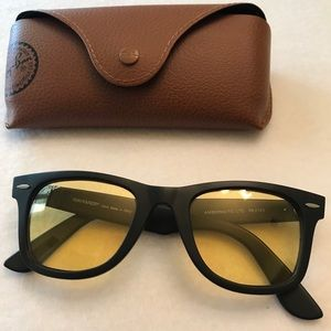 ray ban aviator black frame yellow lens